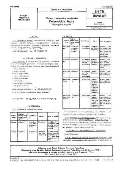 Wyroby i pólwyroby ciastkarskie - Półprodukty - Masy - Wymagania wspólne BN-75/8098-02