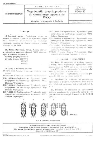 Wymienniki przeciwprądowe do centralnego ogrzewania WCO - Wspólne wymagania i badania BN-71/8864-35