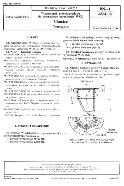 Wymienniki przeciwprądowe do centralnego ogrzewania WCO - Głowice - Wymagania BN-71/8864-38
