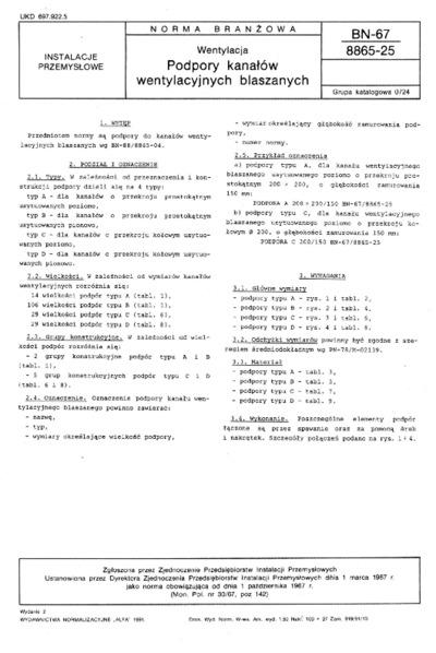 Wentylacja - Podpory kanałów wentylacyjnych blaszanych BN-67/8865-25