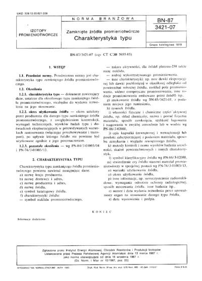 Zamknięte źródła promieniotwórcze - Charakterystyka typu BN-87/3421-07