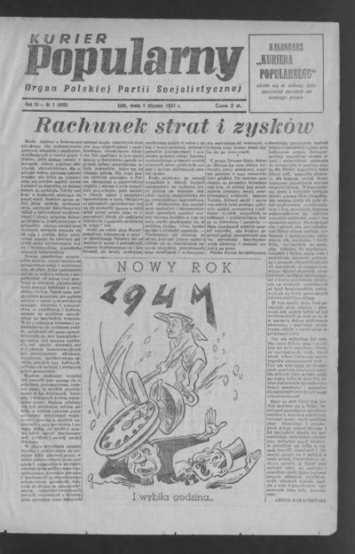 Kurier Popularny : organ Polskiej Partii Socjalistycznej. 1947-01-01 R. 3 nr 1