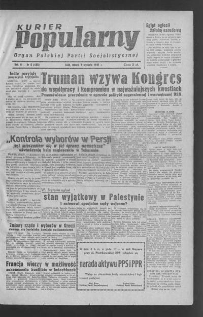 Kurier Popularny : organ Polskiej Partii Socjalistycznej. 1947-01-07 R. 3 nr 6