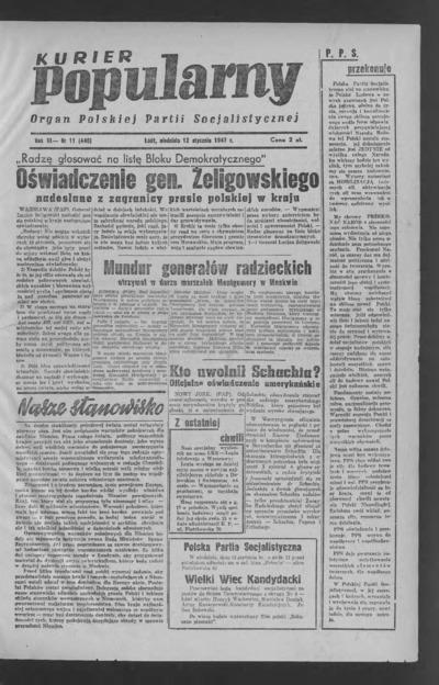 Kurier Popularny : organ Polskiej Partii Socjalistycznej. 1947-01-12 R. 3 nr 11