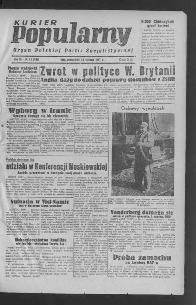 Kurier Popularny : organ Polskiej Partii Socjalistycznej. 1947-01-13 R. 3 nr 12