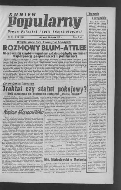 Kurier Popularny : organ Polskiej Partii Socjalistycznej. 1947-01-14 R. 3 nr 13