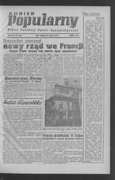 Kurier Popularny : organ Polskiej Partii Socjalistycznej. 1947-01-23 R. 3 nr 22
