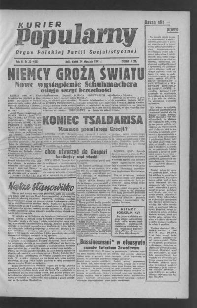 Kurier Popularny : organ Polskiej Partii Socjalistycznej. 1947-01-24 R. 3 nr 23