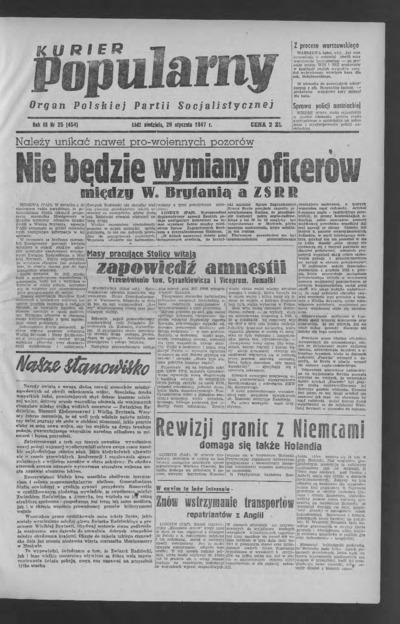 Kurier Popularny : organ Polskiej Partii Socjalistycznej. 1947-01-26 R. 3 nr 25