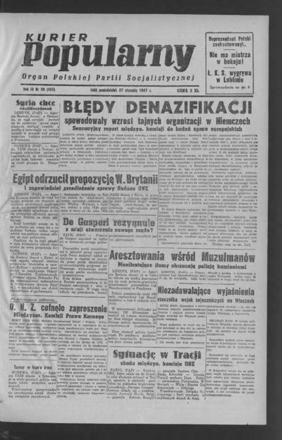 Kurier Popularny : organ Polskiej Partii Socjalistycznej. 1947-01-27 R. 3 nr 26
