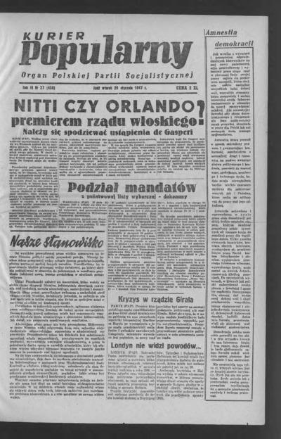 Kurier Popularny : organ Polskiej Partii Socjalistycznej. 1947-01-28 R. 3 nr 27