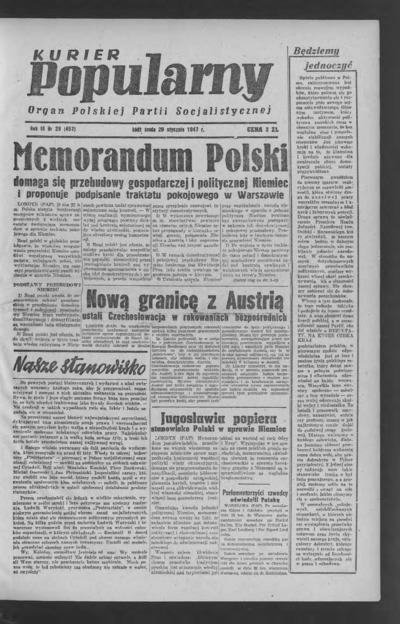 Kurier Popularny : organ Polskiej Partii Socjalistycznej. 1947-01-29 R. 3 nr 28
