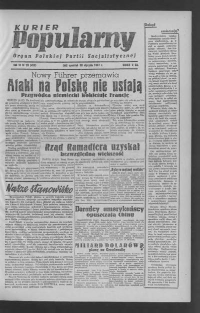 Kurier Popularny : organ Polskiej Partii Socjalistycznej. 1947-01-30 R. 3 nr 29