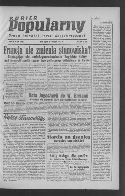 Kurier Popularny : organ Polskiej Partii Socjalistycznej. 1947-01-31 R. 3 nr 30