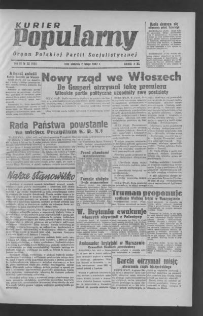 Kurier Popularny : organ Polskiej Partii Socjalistycznej. 1947-02-02 R. 3 nr 32