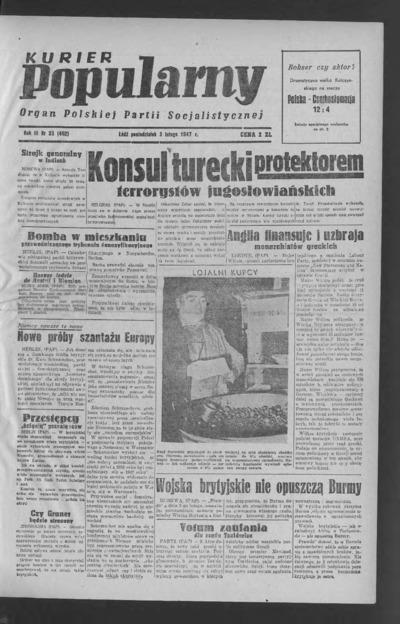 Kurier Popularny : organ Polskiej Partii Socjalistycznej. 1947-02-03 R. 3 nr 33