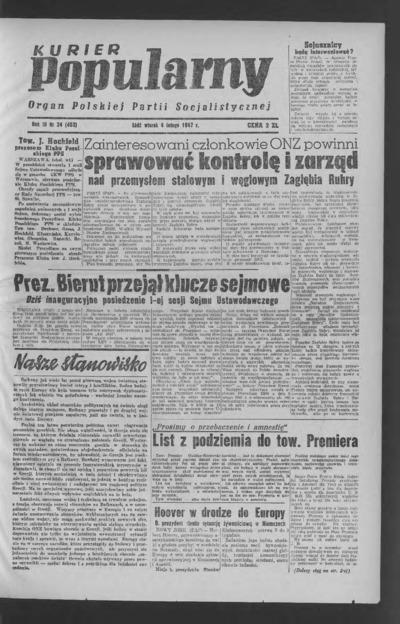 Kurier Popularny : organ Polskiej Partii Socjalistycznej. 1947-02-04 R. 3 nr 34