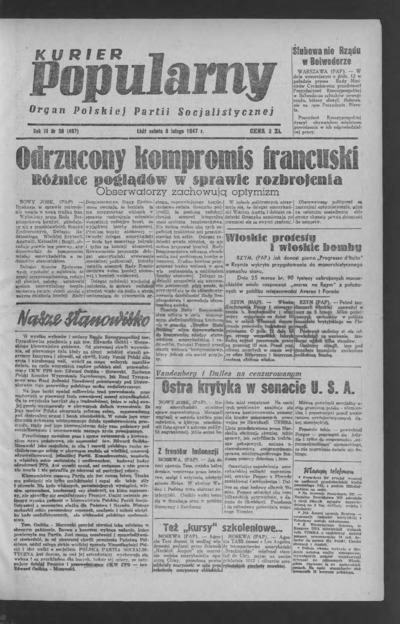 Kurier Popularny : organ Polskiej Partii Socjalistycznej. 1947-02-08 R. 3 nr 38