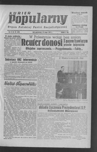 Kurier Popularny : organ Polskiej Partii Socjalistycznej. 1947-02-10 R. 3 nr 40