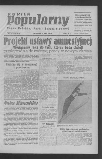 Kurier Popularny : organ Polskiej Partii Socjalistycznej. 1947-02-20 R. 3 nr 50