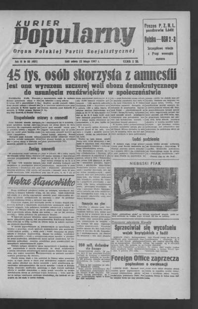 Kurier Popularny : organ Polskiej Partii Socjalistycznej. 1947-02-22 R. 3 nr 52