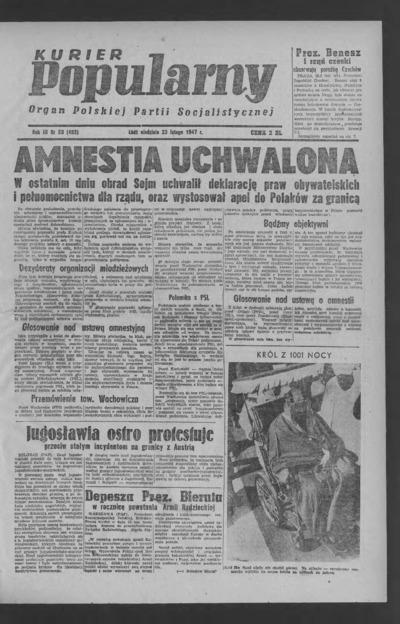 Kurier Popularny : organ Polskiej Partii Socjalistycznej. 1947-02-23 R. 3 nr 53