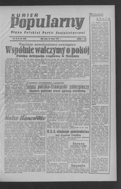 Kurier Popularny : organ Polskiej Partii Socjalistycznej. 1947-02-26 R. 3 nr 56