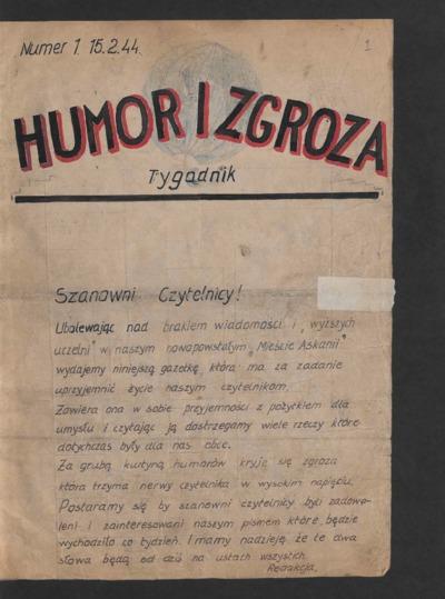 Humor i Zgroza : tygodnik. 1944-02-15 [R. 1] nr 1