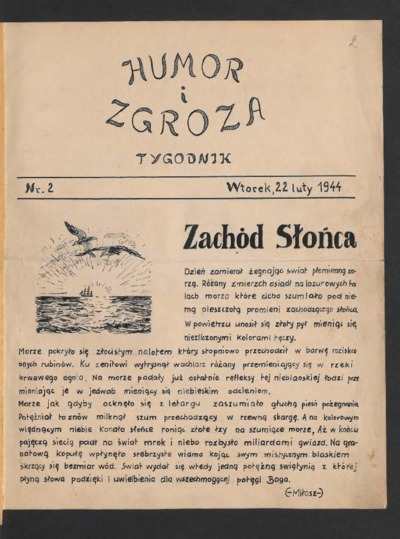 Humor i Zgroza : tygodnik. 1944-02-22 [R. 1] nr 2