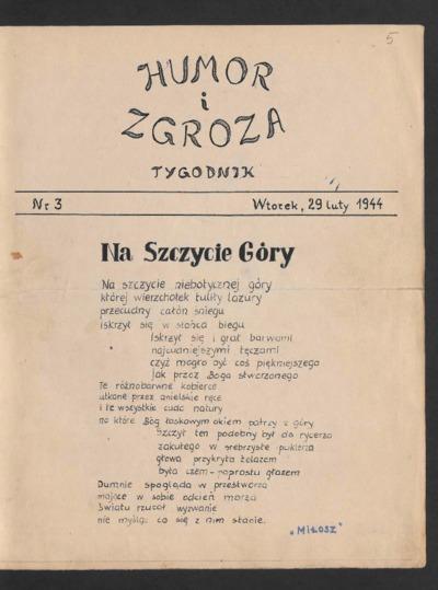Humor i Zgroza : tygodnik. 1944-02-29 [R. 1] nr 3