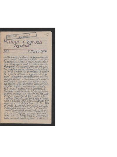 Humor i Zgroza : tygodnik. 1944-03-07 [R. 1] nr 4