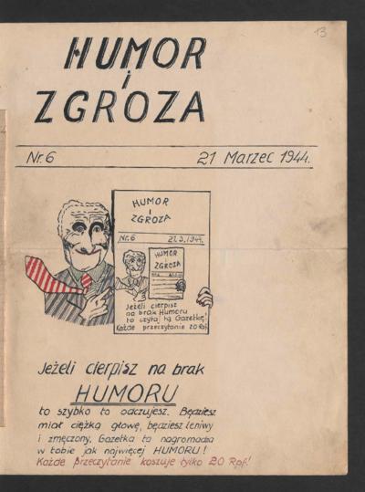 Humor i Zgroza : tygodnik. 1944-03-21 [R. 1] nr 6