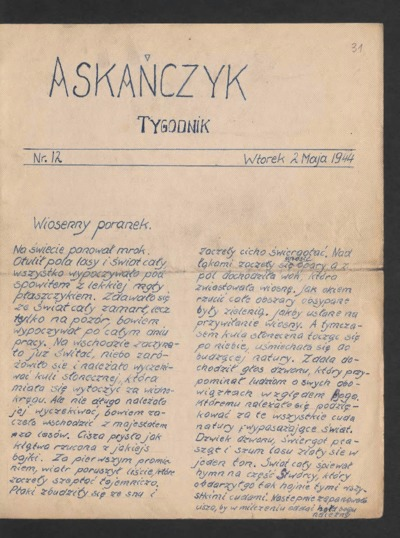 Askańczyk : tygodnik. 1944-05-02 [R. 1] nr 12