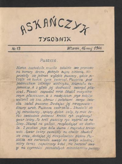 Askańczyk : tygodnik. 1944-05-16 [R. 1] nr 13