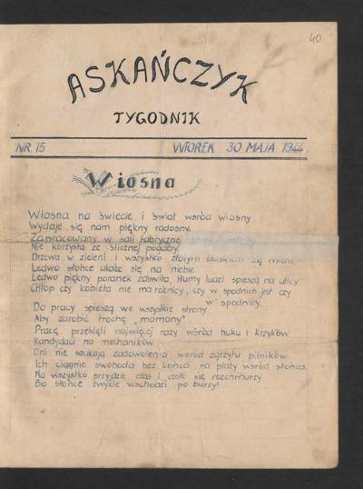 Askańczyk : tygodnik. 1944-05-30 [R. 1] nr 15