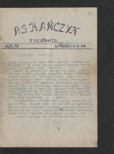 Askańczyk : tygodnik. 1944-06-06 [R. 1] nr 16