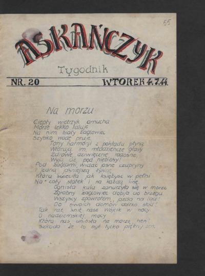 Askańczyk : tygodnik. 1944-07-04 [R. 1] nr 20
