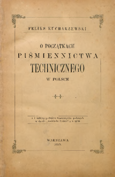 O początkach piśmiennictwa technicznego w Polsce