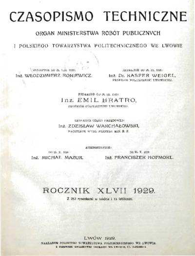 Czasopismo Techniczne 1929 Spis Rzeczy