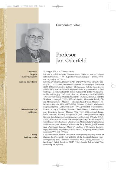 Promotio Doctoris Honoris Causa Scientarum Technicarum Scholae Varsaviensis Professoris Jan Oderfeld
