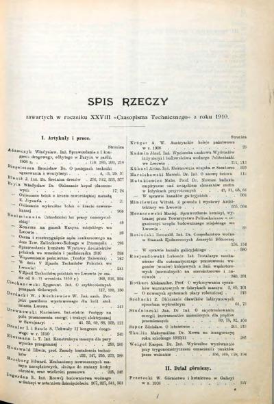 Czasopismo Techniczne 1910 spis rzeczy