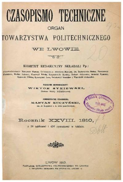 Czasopismo Techniczne 1910 nr 1