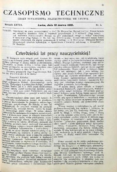 Czasopismo Techniczne 1910 nr 5