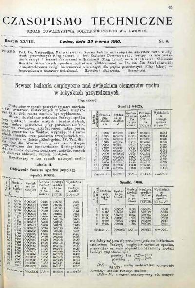 Czasopismo Techniczne 1910 nr 6