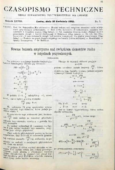 Czasopismo Techniczne 1910 nr 7