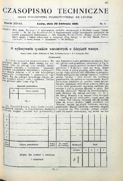 Czasopismo Techniczne 1910 nr 8