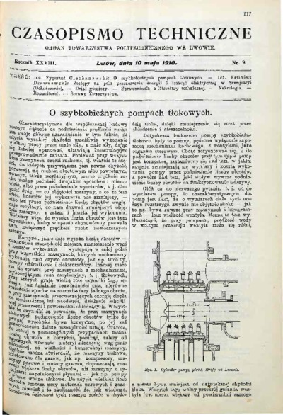 Czasopismo Techniczne 1910 nr 9
