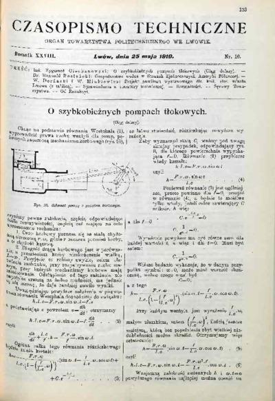 Czasopismo Techniczne 1910 nr 10