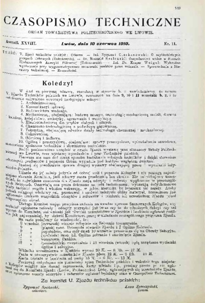 Czasopismo Techniczne 1910 nr 11