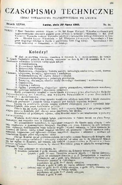 Czasopismo Techniczne 1910 nr 14